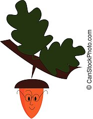 An acorn dangling from a tree looks cute vector or color illustration