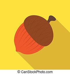 An acorn with a hat.Different kinds of nuts single icon in flat style vector symbol stock illustration.
