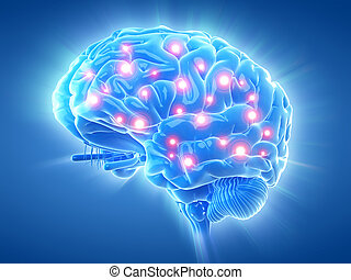 an active brain - 3d rendered medically accurate...