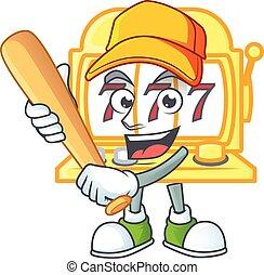 An active healthy golden slot machine mascot design style playing baseball