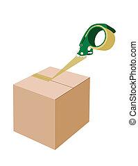 An Adhesive Tape Dispenser Closing A Cardboard Box - A Green...