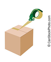 An Adhesive Tape Dispenser Closing A Cardboard Box - A Green...
