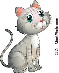 An adorable cat - Illustration of an adorable cat on a white...