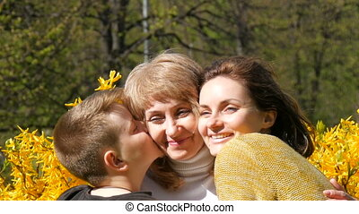 An adult daughter and a teenager meet their senior mother...