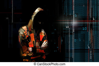 An adult online anonymous internet hacker with invisible face in