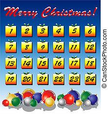 Advent calendar - An Advent calendar, Christmas baubles on...