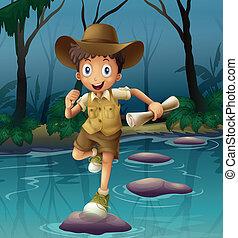An adventurer running with a map - Illustration of an...
