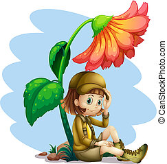 An adventurer under the shade of a flower - Illustration of...