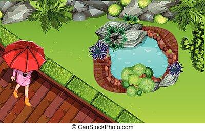 An aerial of garden