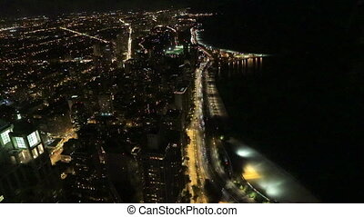 Aerial of the Chicago Lakeshore area at night