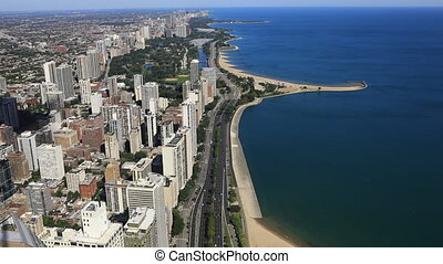 Aerial of the Chicago lakeshore area