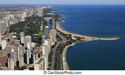 Aerial of the Chicago lakeshore