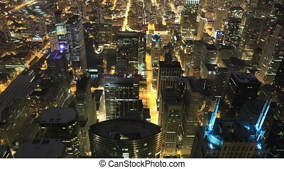 Aerial of the Chicago skyline at night