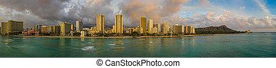 An aerial panorama view of Waikiki Beach and Diamond Head from the ocean
