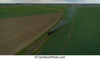 vintage steam train - an aerial shot of a vintage steam...