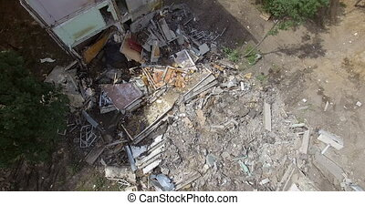 An aerial view of a demolished part of a residential ...