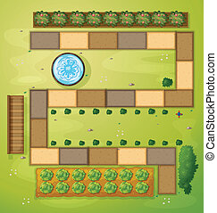 An aerial view of a garden - Illustration of an aerial view...