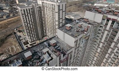 An aerial view of a residential building construction area