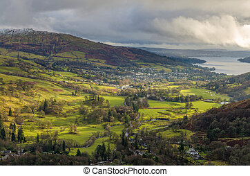 An aerial view of Ambleside from Nab Scar in the English ...