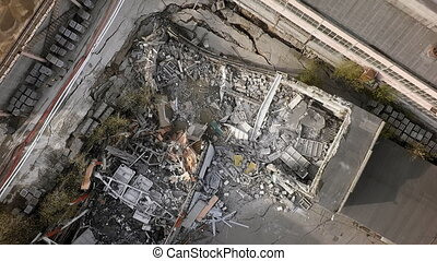 An aerial view of demolished building on a construction site...
