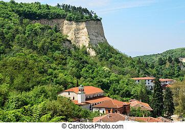 An aerial view of houses in Melnik, Bulgaria