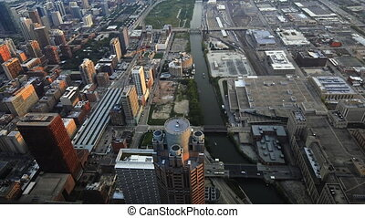 Aerial view of the Chicago river area