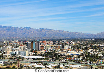 Aerial view of the city of Tucson, Arizona - An Aerial view...