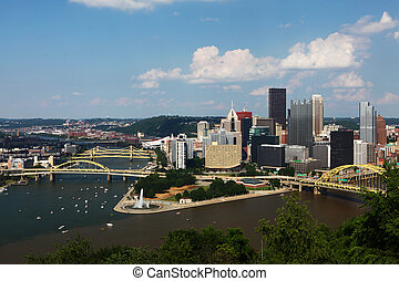 Aerial view of the Pittsburgh skyline