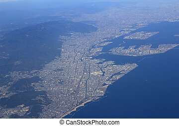 Aerial view of the Port of Kobe in Japan