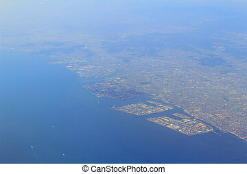 Aerial view of the Port of Kobe in Japan