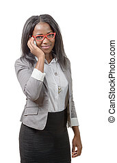 african american business woman with red glasses, on phone