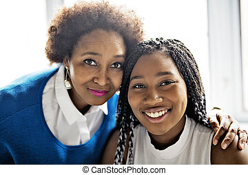 African American mother and daughter close portrait