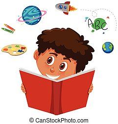 An African boy studying on white background