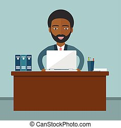 An African businessman sitting at the table and working on the computer in the office. Vector illustration, flat style