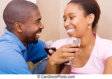 african couple celebrating