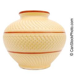 An aged ceramic vase