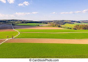 agricultural landscape in the spring