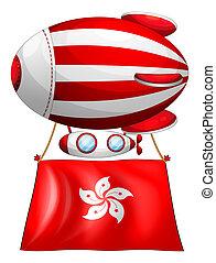 An air balloon with the flag of Hongkong