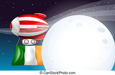 An air balloon with the flag of Ireland