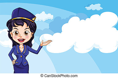 Illustration of an air hostess in the sky