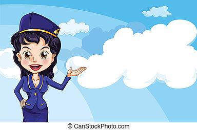 An air hostess in the sky - Illustration of an air hostess...