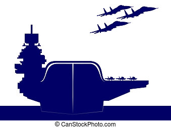 An aircraft carrier - The plane takes off from the deck of...