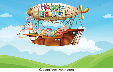 An aircraft with a bunny and easter eggs