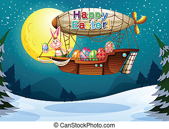 An aircraft with a bunny and eggs for Easter - Illustration...