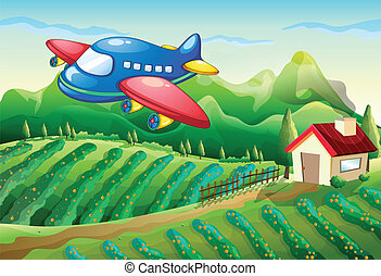 An airplane above the farm with a house