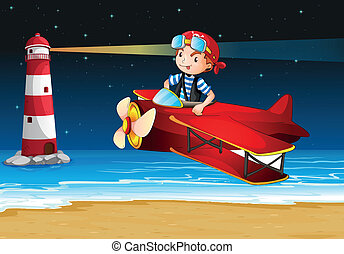 An airplane at the beach with a lighthouse