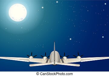 An Airplane Flying at Night