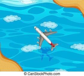An airplane flying over the ocean