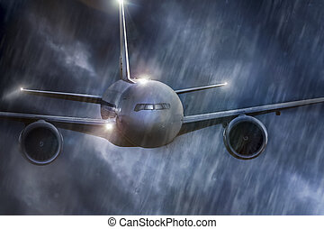 an airplane mid air in bad weather