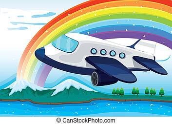An airplane near the rainbow - Illustration of an airplane...
